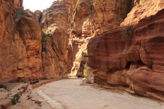 The Siq - ancient canyon in Petra, Jordan Royalty Free Stock Image