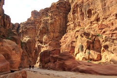 The Siq - ancient canyon in Petra, Jordan Royalty Free Stock Photos