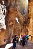 Siq canyon in Petra Stock Photos
