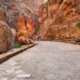 Siq gorge in Petra, Jordan Stock Photos