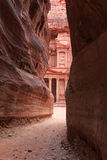 The Siq leading up to the Trausury in Petra, Jordan.  Royalty Free Stock Photo