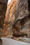 The Siq, the narrow slot-canyon that serves as the entrance pass Royalty Free Stock Photo