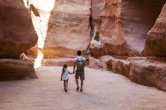 The Siq - natural narrow passageway to Petra. Jordan. Stock Images