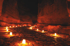 Siq during Petra night walk. The siq in petra during night walk, Jordan, Middle East Royalty Free Stock Photography
