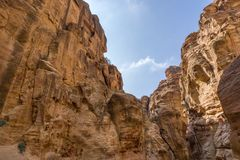 Unique colorful rock formations in the nabatean city of Petra in Jordan Stock Photo