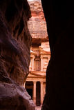 Siq and treasury in Petra. Siq and the treasury in Petra, Jordan Stock Photos