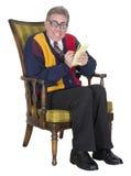 Siquiatra loco, encogimiento, el doctor Funny, aislado foto de archivo