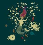 Sirène dans l'océan illustration libre de droits