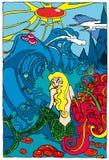 Sirène de dessin animé dans la scène magique illustration de vecteur