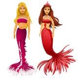 Sirène de deux princesses blonde et rousse illustration stock