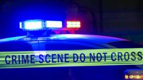 Sirène de voiture de police avec la bande de frontière photographie stock libre de droits