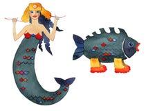 Sirène et poissons Images libres de droits