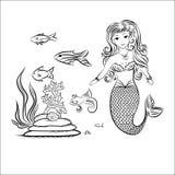 Sirène et poissons, roches et algue Photos stock