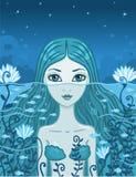 Sirène la nuit illustration stock