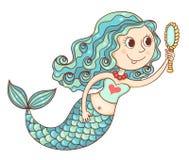 Sirène mignonne avec le miroir Photographie stock libre de droits