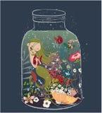 Sirène mignonne de dessin animé illustration libre de droits