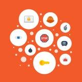 Sirène plate d'icônes, talkie - walkie, explosif et d'autres éléments de vecteur Photos stock
