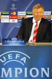 Sir Alex Ferguson. 's interview at Press Conference Room after being qualified to the 2009 UEFA Champions League Semi-Final in Porto, Portugal Royalty Free Stock Photography