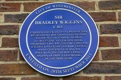 Sir Bradley Wiggins Plaque en Londres imagen de archivo libre de regalías