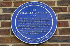 Sir Bradley Wiggins Plaque in London. A plaque in Paddington Recreation Ground in London, marking the area where Olympic cyclist Sir Bradley Wiggins enjoyed the Royalty Free Stock Image