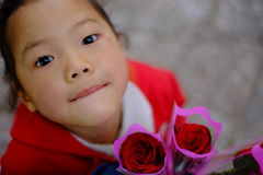 Sir, Can you buy one rose for me? Royalty Free Stock Images