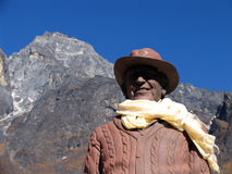 Sir Edmund Hillary. Statue of Sir Edmund Hillary, the first man to climb Everest, in a small village of Nepal, in the Himalaya mountains stock images