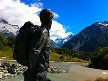 Sir Edmund Hillary przegląda Aoraki, góra Cook Obrazy Royalty Free