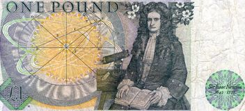 Sir Isaac Newton. The scientist Sir Isaac Newton on the back of an old British one pound note Royalty Free Stock Image