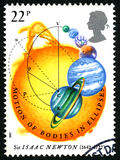 Sir Isaac Newton UK Postage Stamp. GREAT BRITAIN - CIRCA 1987: A used postage stamp from the UK, celebrating the 300th Anniversary of the first publication of Royalty Free Stock Image