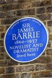 Sir James Barrie Blue Plaque a Londra Fotografia Stock Libera da Diritti