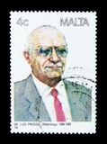Sir Luigi Preziosi ophthalmologist, Maltese Personalities serie, circa 1988. MOSCOW, RUSSIA - NOVEMBER 23, 2017: A stamp printed in Malta shows Sir Luigi Stock Images