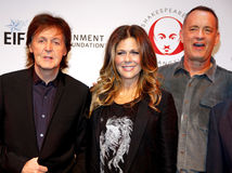 Sir Paul McCartney, Rita Wilson et Tom Hanks Images stock