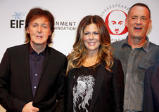 Sir Paul McCartney, Rita Wilson and Tom Hanks. Sir Paul McCartney, Tom Hanks and Rita Wilson at the 23rd Annual Simply Shakespeare held at the Broad Stage in Los Royalty Free Stock Photo
