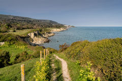 Sir Richard`s Cove, St. Lawrence - Isle of Wight -Looking east t. View of Ventnor from the Coastal Path Royalty Free Stock Photo