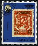 Sir Rowland Hill and a stamp similar to Ecuador. Stamp printed by Paraguay, shows Sir Rowland Hill and a stamp similar to Ecuador, circa 1979 royalty free stock photo