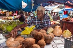 Sir Selwyn Selwyn Clarke Market i Victoria, Mahe, Seychellerna Royaltyfria Foton