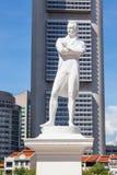 Sir Thomas Stamford Raflles Statue in Singapore. SINGAPORE - AUGUST 18, 2009: The statue to Sir Thomas Stamford Raffles, in Singapore, stands at the spot where Stock Image