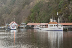 Sir Walter Scott steamship and the Lady of the Lake at Loch Katrine, Scotland Stock Image