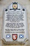 Sir William Wallace Plaque i London Royaltyfri Foto