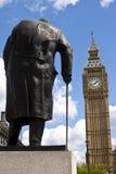 Sir Winston Churchill Statue e Big Ben a Londra Fotografia Stock Libera da Diritti