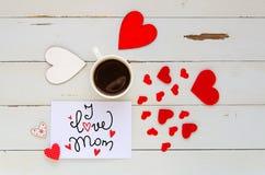Sira de mãe à composição aérea do vintage do dia do ` s da nota com confissão do amor Foto de Stock Royalty Free