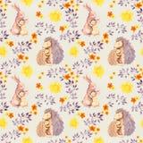 Sira de mãe ao animal do bebê do abraço do ouriço do coelho e da mamã Teste padrão sem emenda pintado aquarela Fotografia de Stock Royalty Free