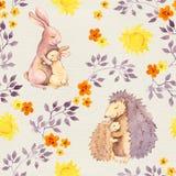 Sira de mãe ao animal do bebê do abraço do ouriço do coelho e da mamã Teste padrão sem emenda pintado aquarela Imagem de Stock