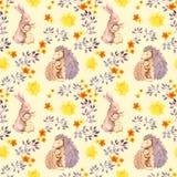 Sira de mãe ao animal do bebê do abraço do ouriço do coelho e da mamã Teste padrão sem emenda pintado aquarela Fotos de Stock