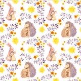 Sira de mãe ao animal do bebê do abraço do ouriço do coelho e da mamã Teste padrão sem emenda pintado aquarela Imagem de Stock Royalty Free