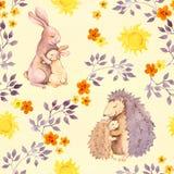 Sira de mãe ao animal do bebê do abraço do ouriço do coelho e da mamã Teste padrão sem emenda pintado aquarela Fotografia de Stock