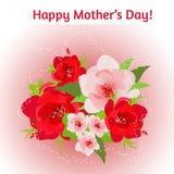 Sira de mãe ao cartão do dia do ` s com um ramalhete de flores vermelhas em um fundo cor-de-rosa Imagem de Stock