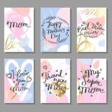 Sira de mãe ao grupo de cartões tirado mão do dia do ` s Imagens de Stock
