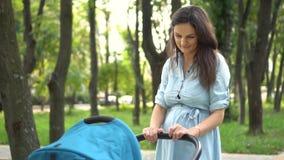 Sira de mãe ao passeio com um pram no parque Fundo da natureza do verão vídeos de arquivo