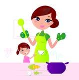 Sira de mãe a cozinhar o alimento saudável com a criança na cozinha ilustração royalty free